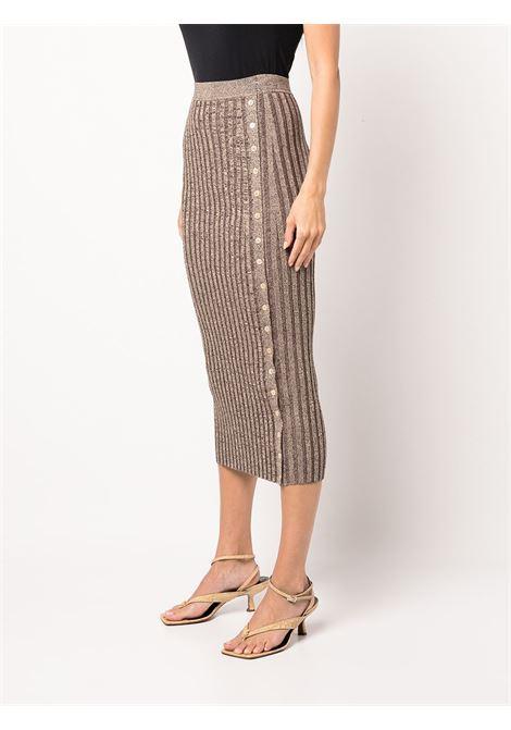 Brown ribbed knit pencil skirt - women JONATHAN SIMKHAI   5213028KDNCHCLT