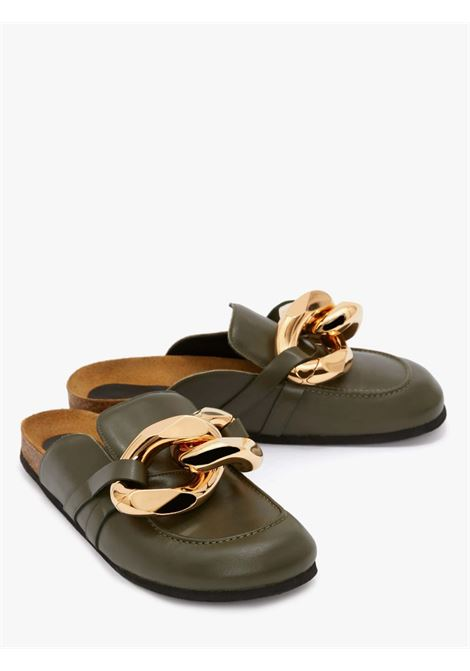 Olive green chain loafer mules - women JW ANDERSON | AN35004A14000418
