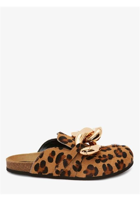 Chain loafer leopard print mules in brown - women  JW ANDERSON | AN35004A14035213