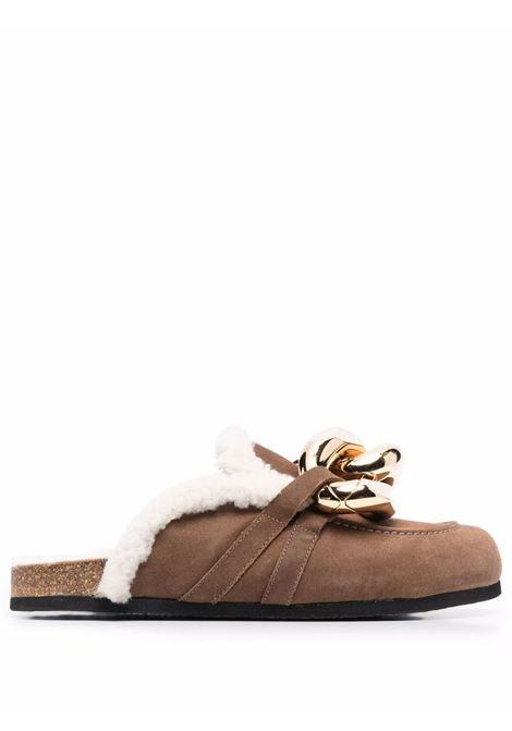 Chain loafer shearling mules in brown - men  JW ANDERSON | ANM35504B14034502