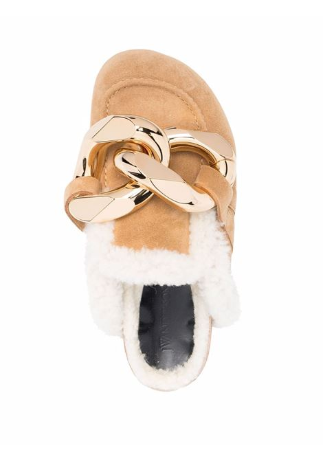 Chain loafer shearling mules in brown - women  JW ANDERSON | ANW35004B14031110209