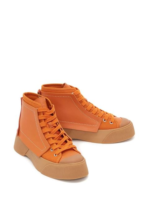 Orange and brown panelled high-top sneakers - women  JW ANDERSON | ANW37000A14055800