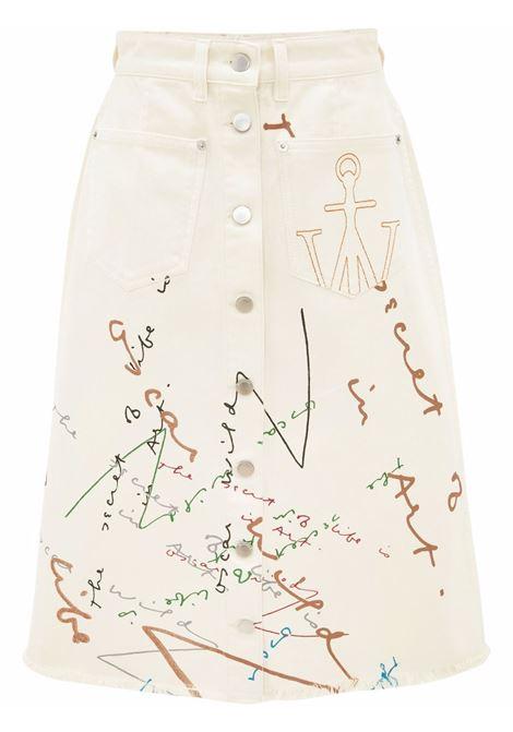 Beige oscar wilde capsule print skirt - women  JW ANDERSON | DK0006PG0730002