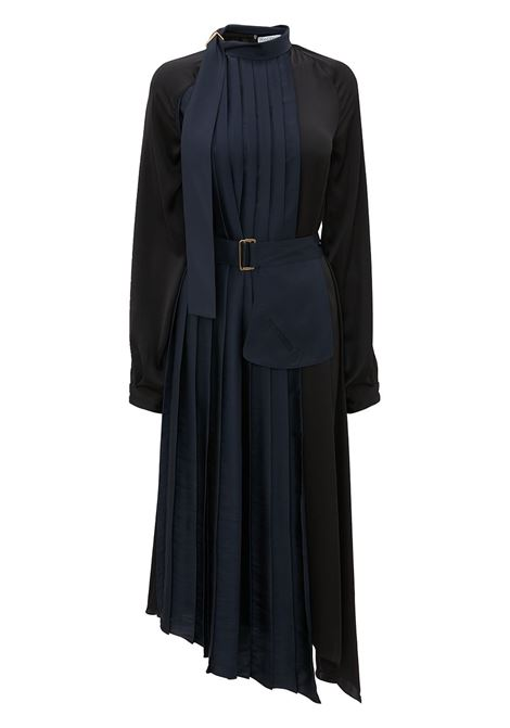 Navy blue and black pleated-detail long-sleeve dress - women  JW ANDERSON | DR0189PG0628893