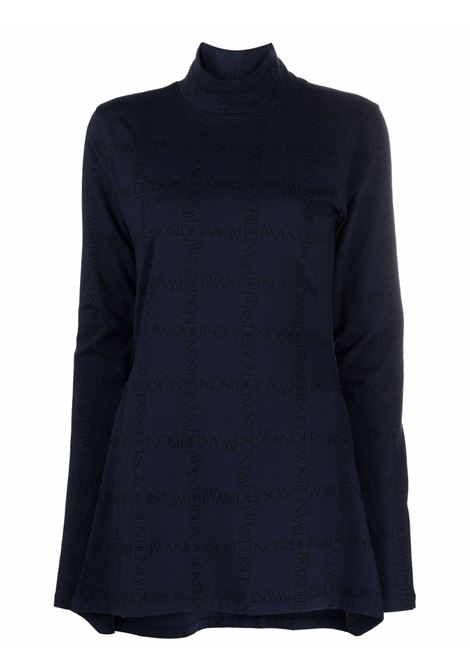 Blue asymmetric top with all-over logo pattern - women  JW ANDERSON | JO0041PG0652893
