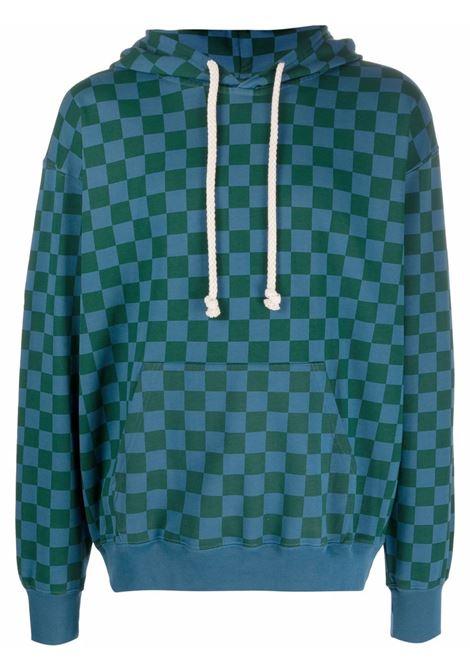 Blue and green checkerboard print sweatshirt - men  JW ANDERSON | JO0047PG0458826