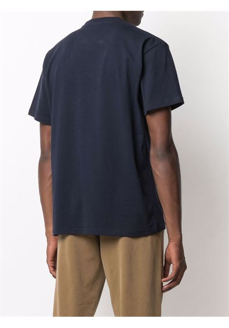 Crew-neck logo-print t-shirt navy blue - men  JW ANDERSON | JT0033PG0482888