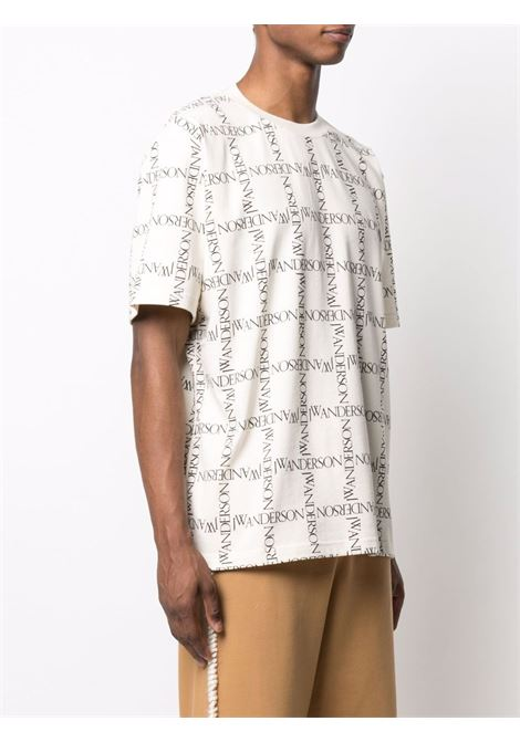 Crew-neck logo-print t-shirt navy ivory - men  JW ANDERSON | JT0044PG0482006
