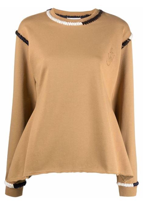 Contrast-stiching sweatshirt tobacco brown - women  JW ANDERSON | JW0004PG0458619