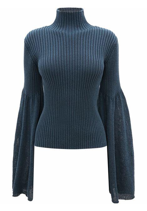 Navy blue bell-sleeve ribbed jumper - women  JW ANDERSON | KW0517YN0152888