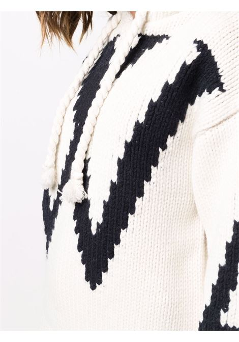 Chunky-knit hooded jumper in white and navy blue - women JW ANDERSON | KW0526YN0146021