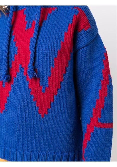 Chunky-knit hooded jumper in blue and red - women JW ANDERSON | KW0526YN0146807