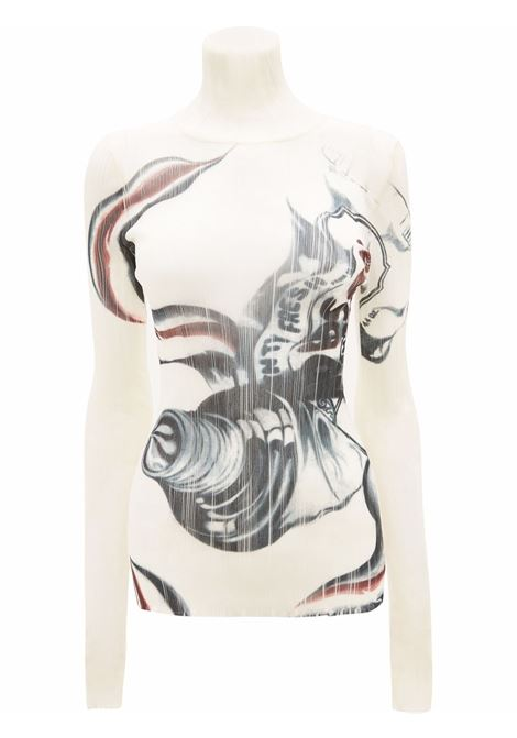 Black and white roll-neck top with print - women  JW ANDERSON | KW0535YN0160022