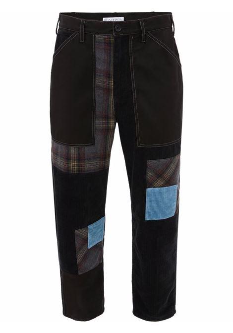 Black cropped patchwork jeans - men  JW ANDERSON | TR0147PG0604999