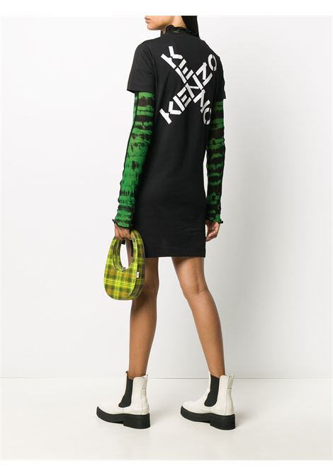 Crisscross logo print t-shirt dress black - women  KENZO | FA62RO7684SJ99