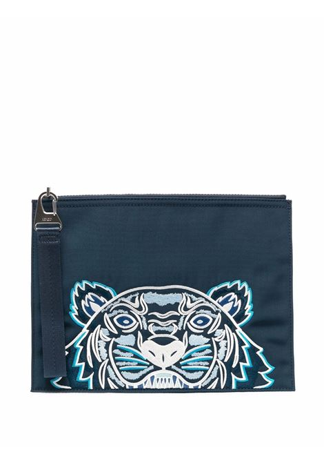 Tiger-embroidered zipped clutch in midnight blue - unisex KENZO | FA65PM302F2077
