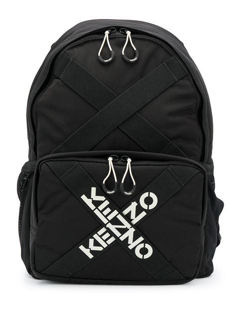 Taped logo backpack in black - men  KENZO | FA65SA213F2199