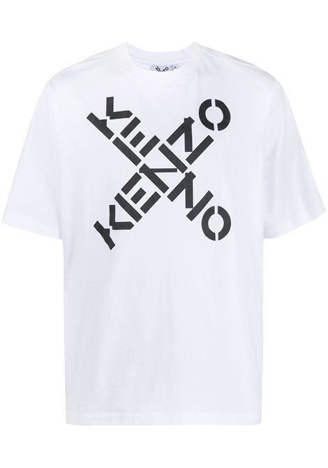 T-shirt con logo incrociato in bianco - uomo KENZO | FA65TS5024SJ01