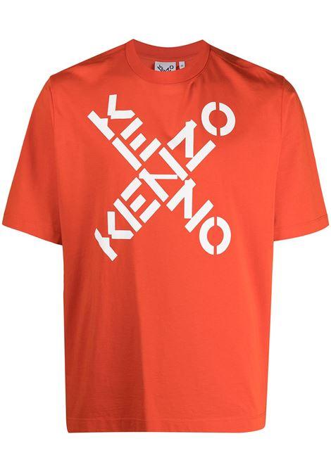 T-shirt con logo incrociato in arancione - uomo KENZO   FA65TS5024SJ16C