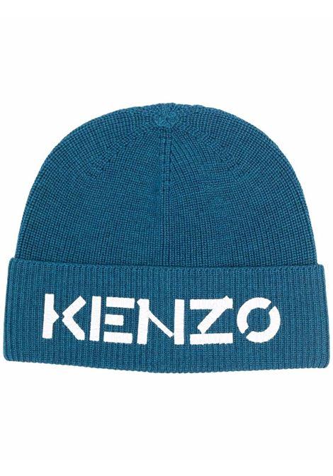 Cappello a coste con stampa frontale con logo blu - uomo KENZO | FA68BU111KEK77