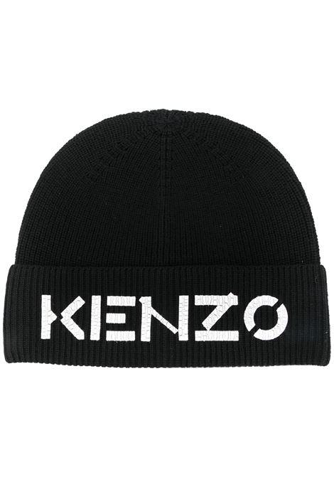 Cappello a coste con stampa frontale con logo nero - uomo KENZO | FA68BU111KEK99