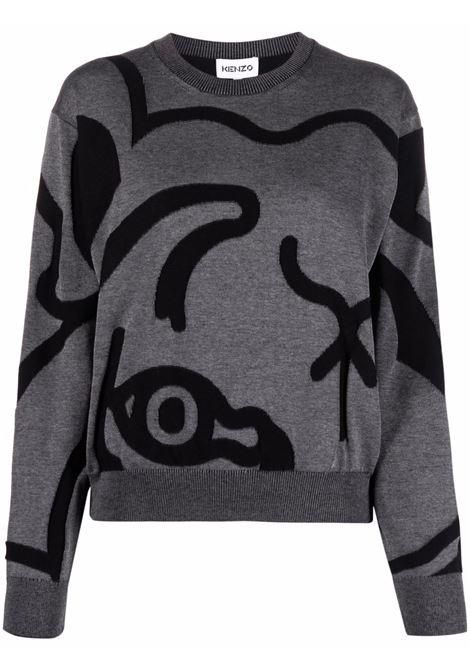 Tiger-print jumper grey and black - women  KENZO | FB52PU5863TC98