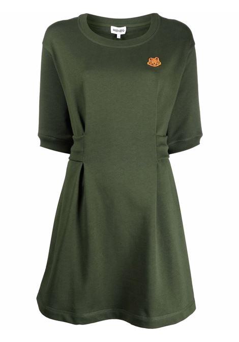 Box-pleat cotton short dress in khaki-green - women  KENZO | FB52RO7634ML51