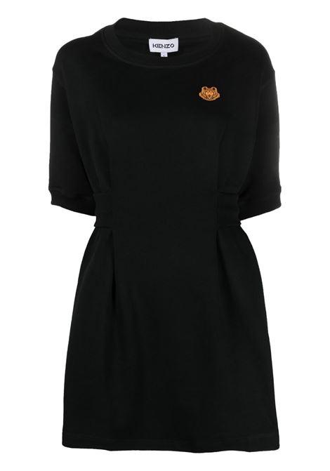 Tiger- motif sweatshirt dress in black - women  KENZO | FB52RO7634ML99