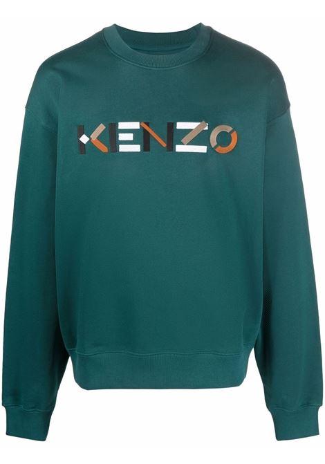 Felpa con logo in verde - uomo KENZO | FB55SW5234MO73