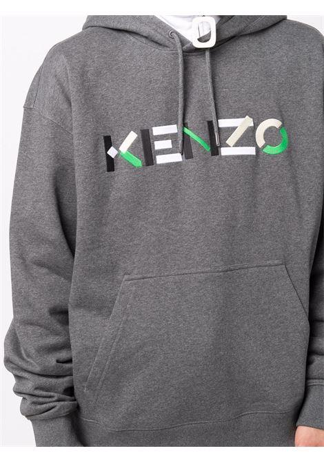 Grey logo-print hooded swetshirt - men  KENZO | FB55SW5394MO96