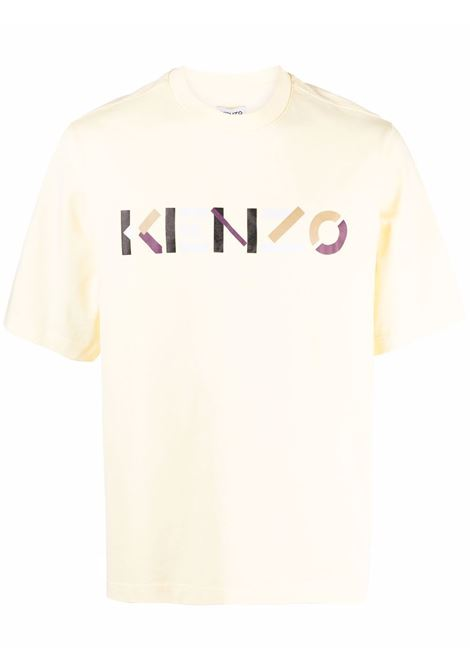 T-shirt con stampa in giallo crema - uomo KENZO   FB55TS0554SB04