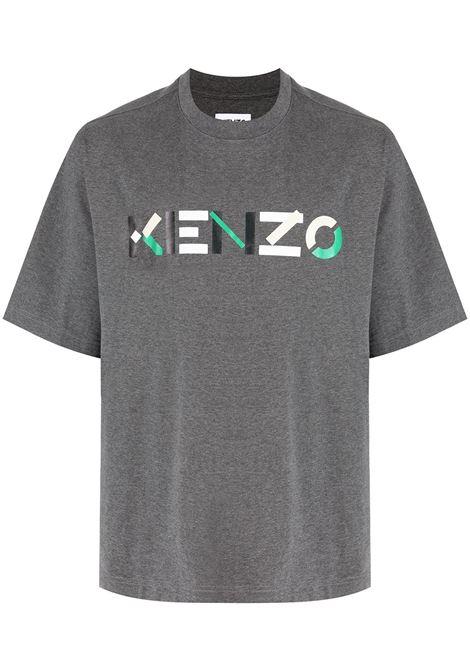 Logo-print cotton T-shirt in grey - men  KENZO | FB55TS0554SB96