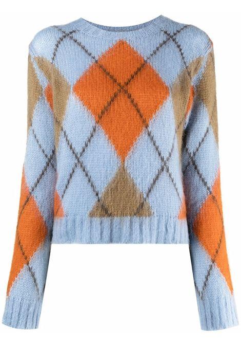 Diamond-print knitted jumper in sky-blue, orange and green - women  KENZO | FB62PU6103CC17