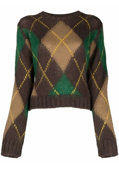 Argyle intarsia rib-trimmed jumper in tonal brown, forest green and sun yellow women  KENZO | FB62PU6103CC90
