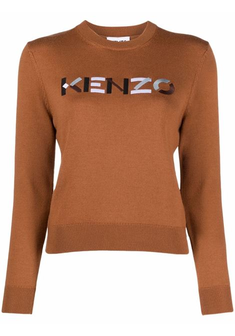 Embroidered-logo jumper in brown- women KENZO | FB62PU6393LA15