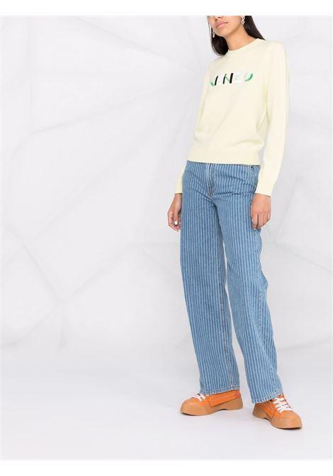 Logo-print long-sleeved jumper in vanilla yellow- women  KENZO | FB62PU6393LA38