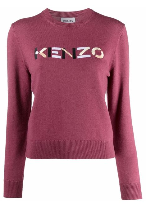 Embroidered-logo jumper in pink and multicolour - women KENZO | FB62PU6393LA85