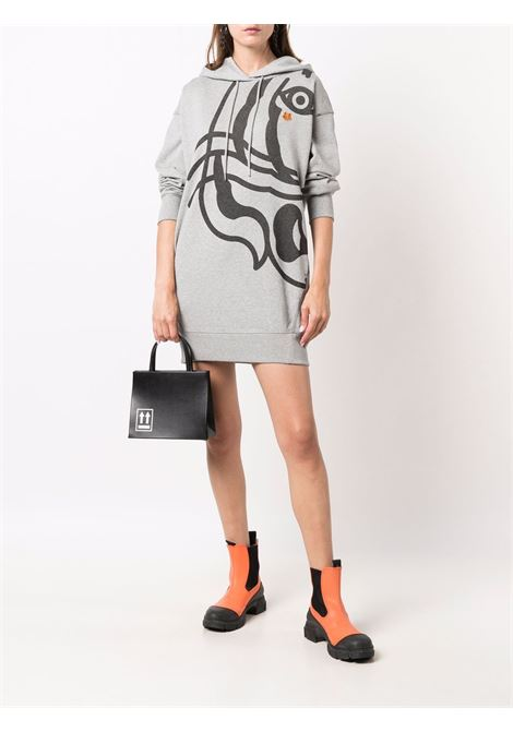 Logo hooded sweatshirt dress in grey - women  KENZO | FB62RO8074MO94