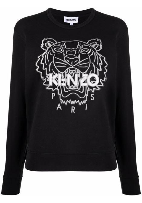Tiger-embroidered crewneck sweatshirt in black - women  KENZO | FB62SW8204XH99