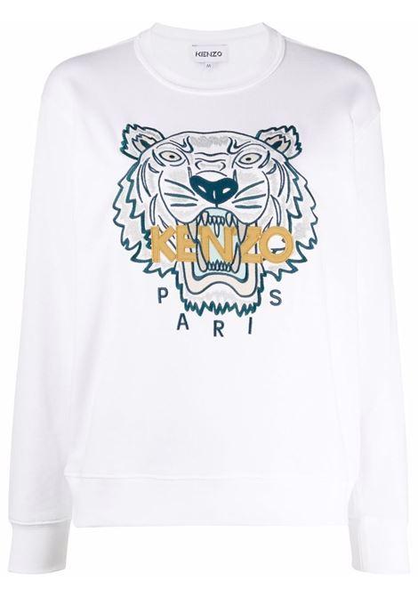 Embroidered-logo sweatshirt white - women KENZO | FB62SW8244XA01B