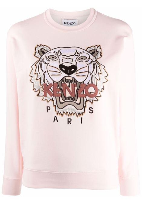 Tiger- motif sweatshirt in rose pink - women  KENZO | FB62SW8244XA34