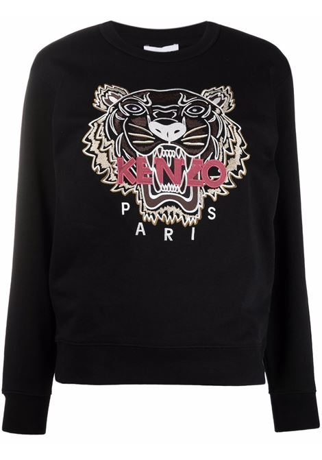 Embroidered logo sweatshirt in black - women  KENZO | FB62SW8244XA99