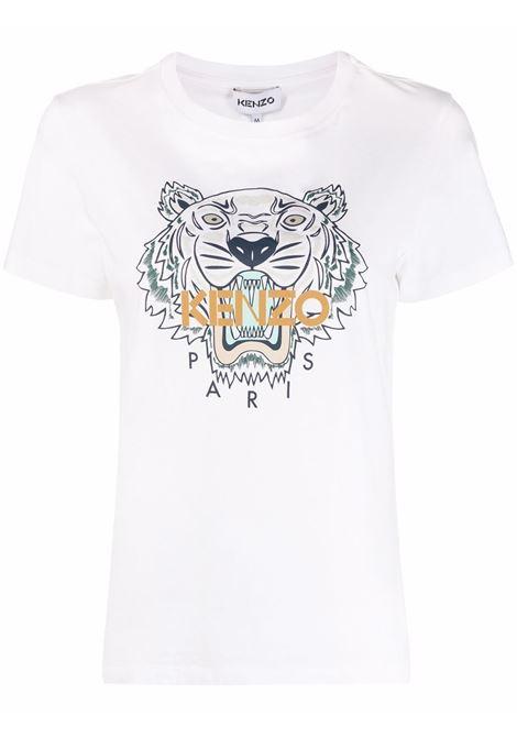 Logo print T-shirt in white - women  KENZO | FB62TS8464YB01B
