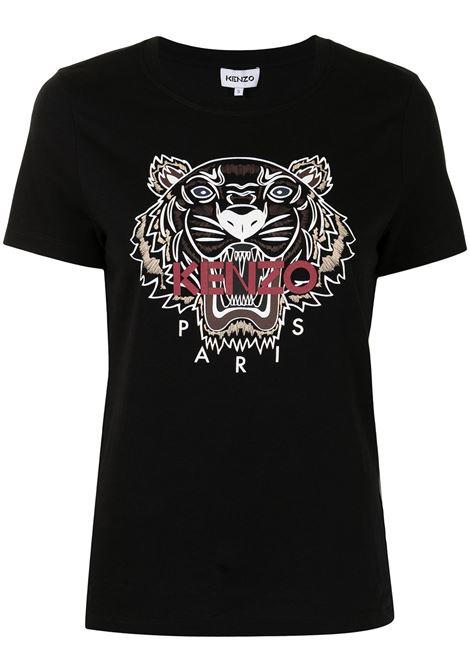 Logo print T-shirt in black - women  KENZO | FB62TS8464YB99