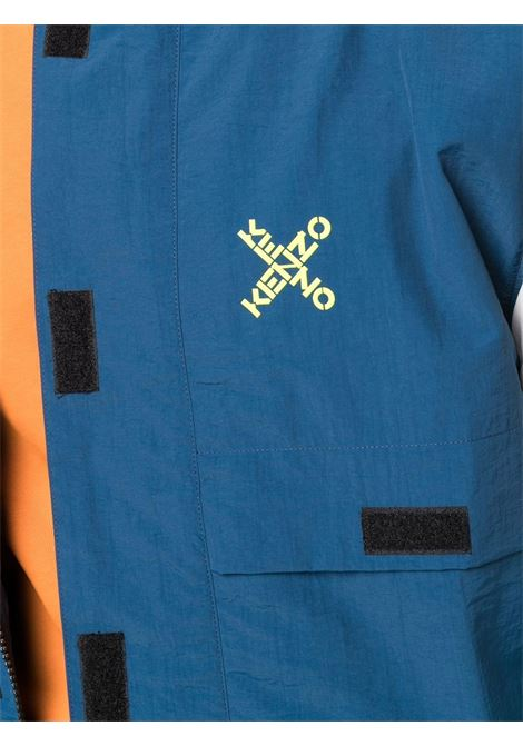 Logo print lightweight jacket in navy blue and off-white - men KENZO | FB65CH5219CO78