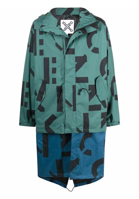 Logo-print zipped parka coat in turquoise green and blue - unisex KENZO | FB65OU5201NM54