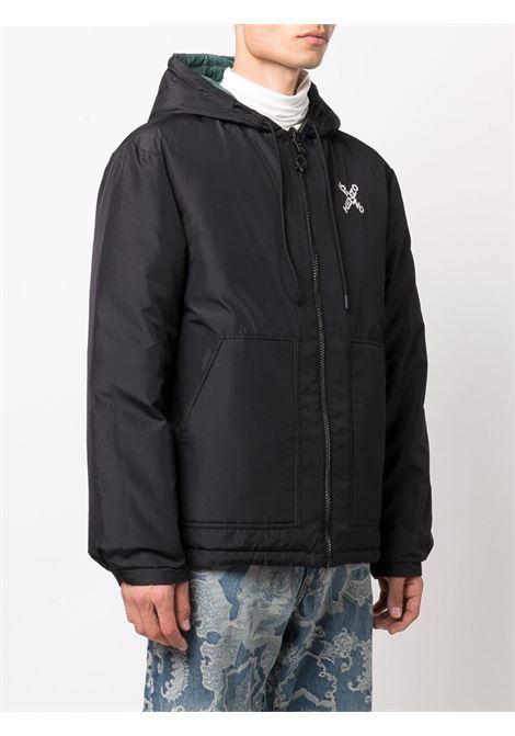 Black and green logo-print padded jacket - men  KENZO | FB65OU5851NH99