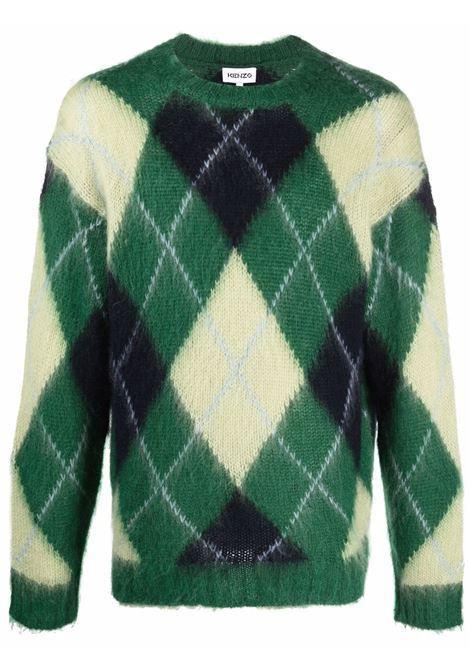 Diamond-print knitted jumper in light-green/forest-green - men  KENZO | FB65PU6103CC47