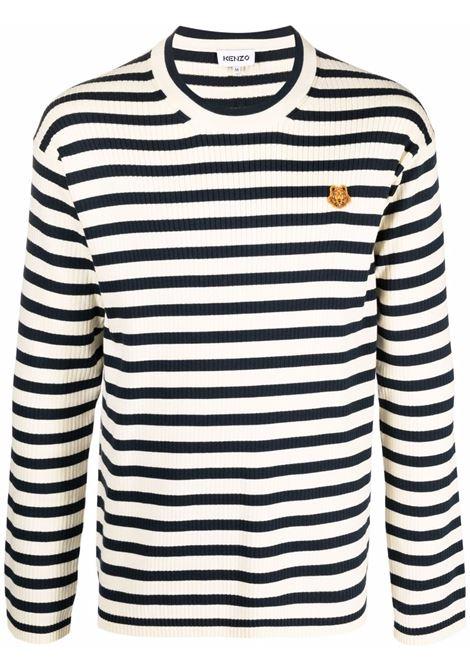Striped tiger logo jumper cream and black - men  KENZO | FB65PU6223CB04