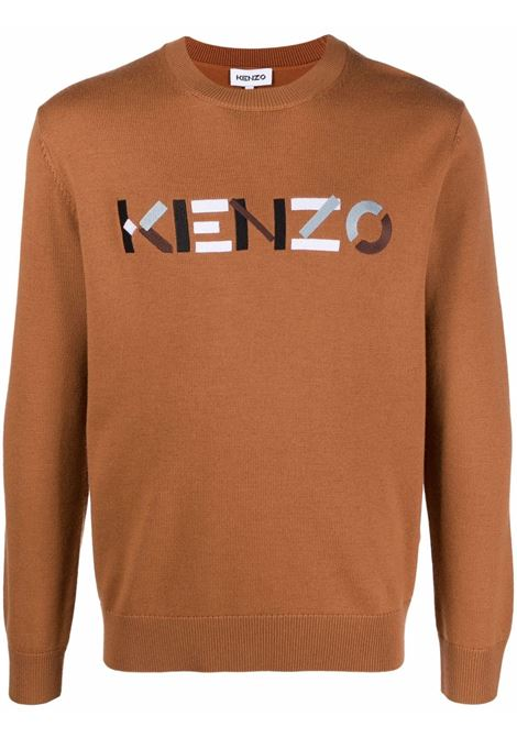 Brown logo-embroidered knitted jumper - men  KENZO | FB65PU6393LA15